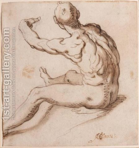 A Seated Male Nude, Seen From Behind by Abraham Bloemaert - Reproduction Oil Painting