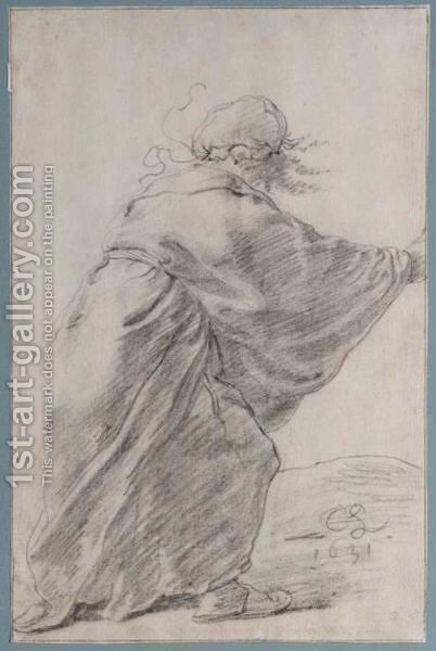 A Wild-Haired, Robed Woman Rushing To The Right, Seen From Behind by Cornelis Saftleven - Reproduction Oil Painting