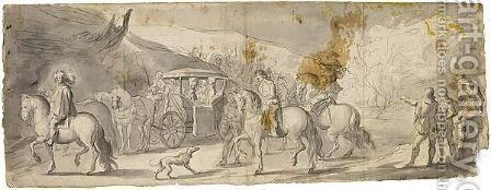 Procession With A Coach And Horsemen by (after) Jan The Younger Martszen - Reproduction Oil Painting