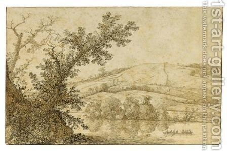 Wooded River Landscape With A Rowing Boat, And Hills Behind by Cornelis Hendricksz. The Younger Vroom - Reproduction Oil Painting