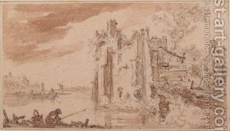 Overgrown Ruins On A River Bank, With Fishermen To The Left And Other Figures To The Right by Jan van Goyen - Reproduction Oil Painting