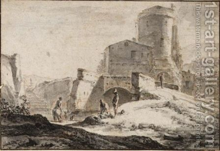 An Italianate Landscape With Travellers Near A River, And A Tower Behind by (after) Simon Van Der Does - Reproduction Oil Painting