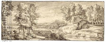 Panoramic Italianate Landscape With A Figure Resting In The Foreground by Abraham Genoels - Reproduction Oil Painting
