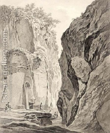 Figures Boating In A Gorge Near Sorrento by Daniel Dupre - Reproduction Oil Painting