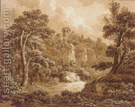 An Arcadian Landscape With A Huntsman And His Dog by (after) Johann Sebastian The Younger Bach - Reproduction Oil Painting