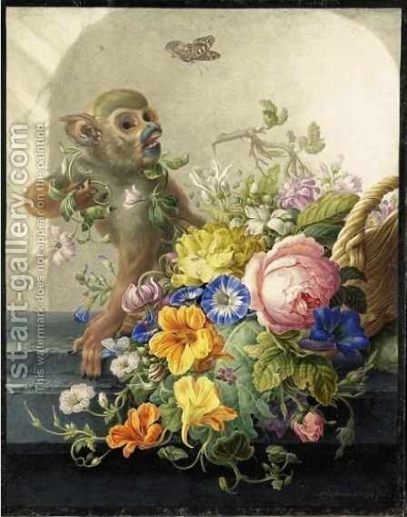 Still Life With A Monkey And A Basket Of Flowers On A Stone Ledge by Herman Henstenburgh - Reproduction Oil Painting