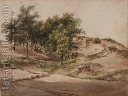 A Wooded Landscape Near Beekhuizen by Andreas Schelfhout - Reproduction Oil Painting
