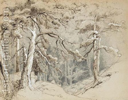 View Into A Forest by Carl Ludwig Fahrbach - Reproduction Oil Painting