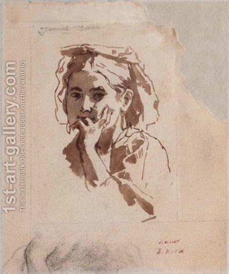 Studies Of A Head Of A Young Girl by Jacob Henricus Maris - Reproduction Oil Painting