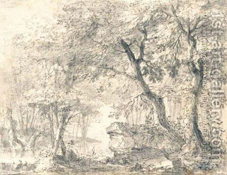 Wooded Landscape With River And Large Rock by Conrad Meyer - Reproduction Oil Painting