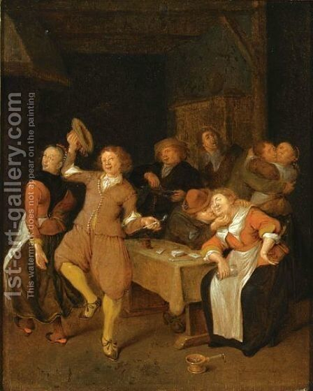 A Brothel Scene With A Couple Dancing, Two Couples Embracing And A Man Making Music by Jan Miense Molenaer - Reproduction Oil Painting