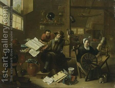 An Interior Scene With An Alchemist And His Assistant, Together With A Woman Behind A Spinning Wheel And A Cat by (after) Matheus Van Helmont - Reproduction Oil Painting