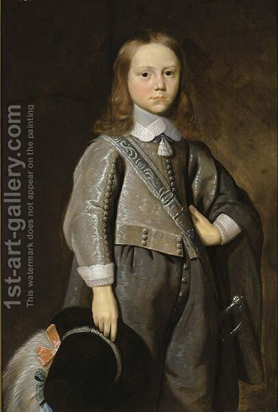 A Portrait Of A Boy, Standing Three- Quarter Length, Wearing A Grey Embroidered Suit And Holding A Hat With A Feather In His Right Hand by Jan Jansz. Van Stomme - Reproduction Oil Painting