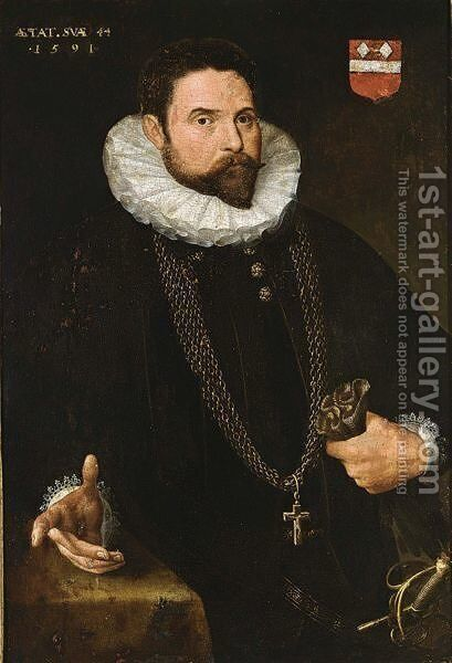 A Portrait Of A Nobleman, At The Age Of 44, Standing Half-Length, Wearing A Black Suit With White Lace Collar, A Golden Chain With Crucifix, A Sword, And Holding Gloves In His Left Hand, Standing Next To A Table by (after) Anthonis Mor Van Dashorst - Reproduction Oil Painting