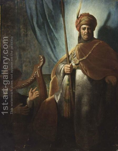 David Playing Harp Before Saul by (after) Harmenszoon Van Rijn Rembrandt - Reproduction Oil Painting