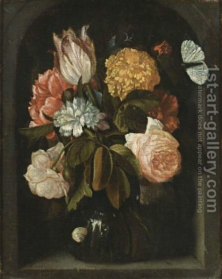 A Still Life With Roses, A Tulip, Carnations, A Peony And Other Flowers, All In A Glass Vase, With A Snail And A Butterfly, In A Stone Niche by Jan Pauwel Gillemans The Elder - Reproduction Oil Painting