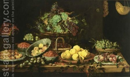 An Extensive Still Life Of Peaches, Apricots And Strawberries In Wan-Li Porcelain Bowls, Quince-Pears On A Stone Plate, Black Prunes On A Chinese Plate, Hazelnuts, Grapes, Blackberries And Cherries In Baskets, Berries And White Prunes In Copper Bowls, Tog by (after) Frans Snijders - Reproduction Oil Painting