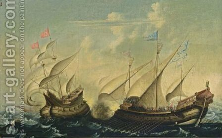 A Naval Battle Scene Between An Ottoman Man-Of-War And A Galley by (after) Cornelis Vroom - Reproduction Oil Painting