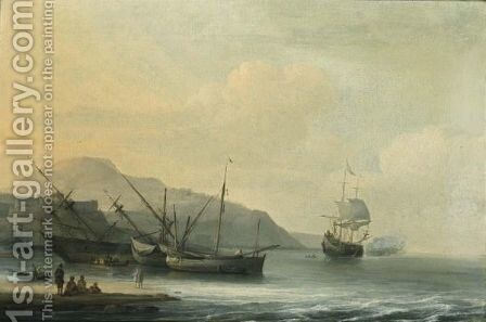 A Coastal Landscape With A Ship Careened For Caulking, Together With Other Sailing Boats And A Ship Firing A Salute by Jan Theunisz Blanckerhoff - Reproduction Oil Painting