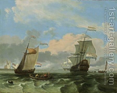 A Man-Of-War And A States Yacht Together With Other Sailing Vessels In A Stiff Breeze, A Rowing Boat With Fishermen In The Foreground by Hendrik Rietschoof - Reproduction Oil Painting