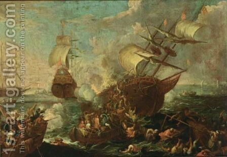 A Naval Battle Scene With Ottoman And Christian Soldiers Fighting Aboard A Ottoman Ship, Other Shipping Beyond by Cornelis de Wael - Reproduction Oil Painting