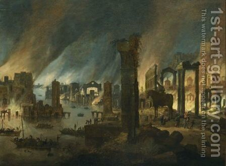 Aeneas And His Father Leaving Burning Troy by Dirck Verhaert - Reproduction Oil Painting