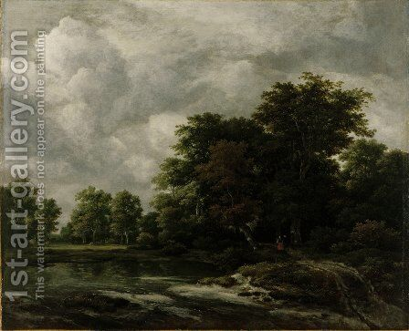 A Wooded Landscape With A Pond And Figures On A Path Near Trees by Jacob Van Ruisdael - Reproduction Oil Painting