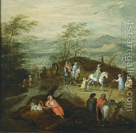 An Extensive Hilly Wooded Landscape With Horsemen And Gypsies, And Travellers, Horsemen And Figures In A Horse-Drawn Wagon All On Path In The Background by Jan, the Younger Brueghel - Reproduction Oil Painting