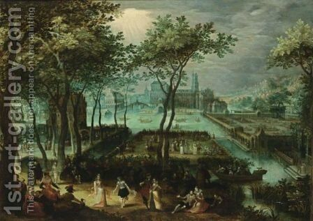 An Extensive View Of A Palace Garden With Elegant Figures Dancing And Making Music In The Foreground And Boats On Moats, With The Palace And Bridges In The Background by (after) David Vinckboons - Reproduction Oil Painting