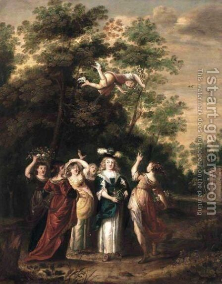 Wooded Landscape With Mercury And Herse by Guillaume The Younger Forchondt - Reproduction Oil Painting
