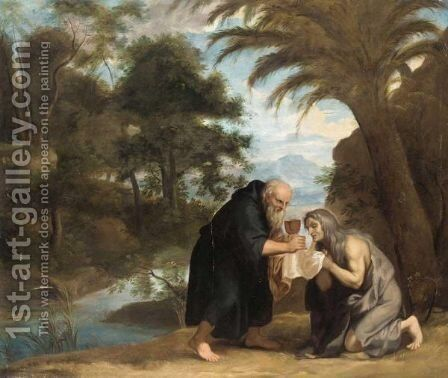Saint Mary Of Egypt Receiving Her Last Communion From Zosimus by (after)  David The Younger Teniers - Reproduction Oil Painting