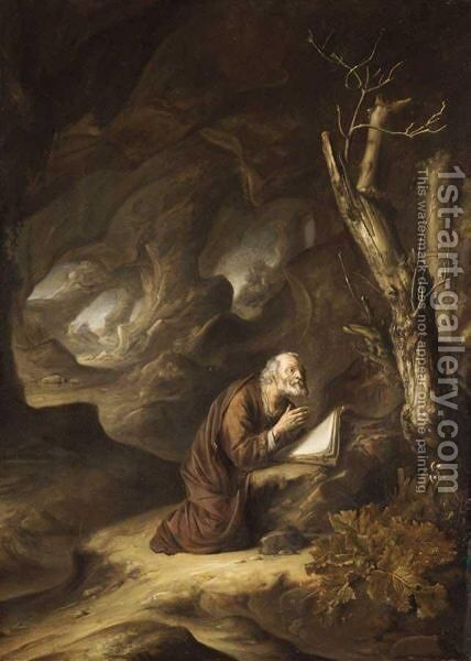 A Hermit Praying In The Wilderness by Jan Adriansz van Staveren - Reproduction Oil Painting