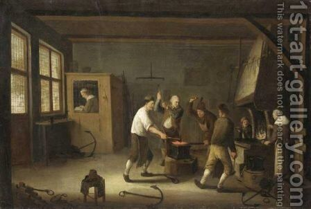 Interior Of A Blacksmith's Forge by Cornelis Beelt - Reproduction Oil Painting