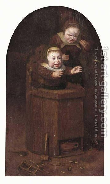 A Young Girl Crying And A Baby In A Highchair, A Little Bird Flying Away by Dutch School - Reproduction Oil Painting