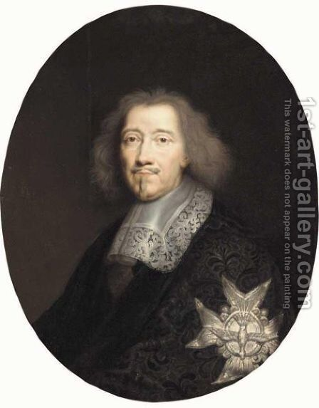 Portrait Of A Gentleman, Half Length, Wearing A Black Embroidered Jacket And The Order Of The Saint-Esprit, Said To Be Michel Le Tellier, Marquis De Louvois by (after) Philippe De Champaigne - Reproduction Oil Painting