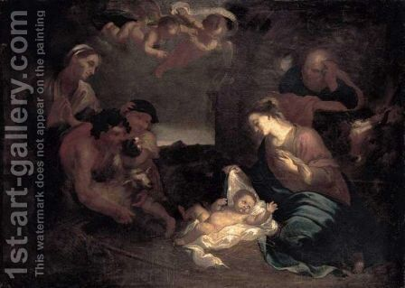 The Adoration Of The Shepherds by (after) Giovanni Benedetto Castiglione - Reproduction Oil Painting