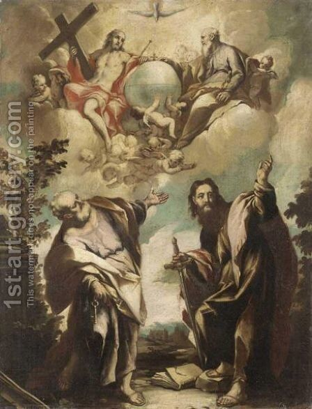 Saint Peter And Saint Paul, With The Celestial Host Above by (after) Sebastiano Ricci - Reproduction Oil Painting