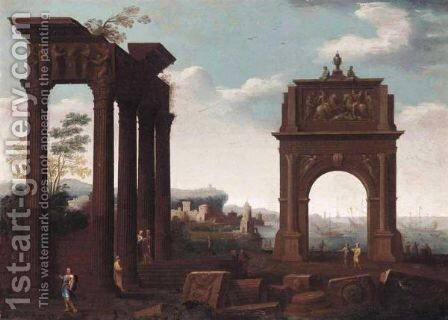 An Architectural Capriccio With Figures Amongst Ruins, A Mediterranean Port Beyond by (after) Viviano Codazzi - Reproduction Oil Painting