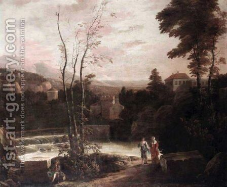 An Extensive Italianate Landscape With Two Women Walking On A Path And A Fisherman Resting On A Stone In The Foreground. by (after) Gerard Van Edema - Reproduction Oil Painting