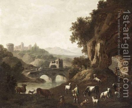 A Mountainous Landscape With A Drover Guarding His Goats, Sheep And Cows By A River by (after) Cajetan Roos - Reproduction Oil Painting