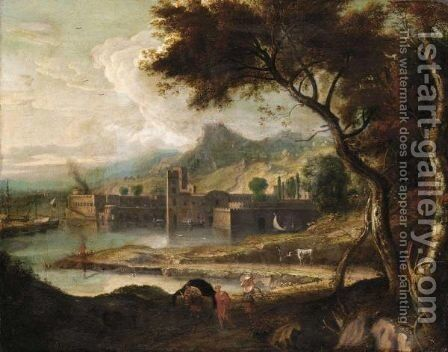 Italianate Landscape With Travellers On A Path by (after) Jean-Francois Millet - Reproduction Oil Painting