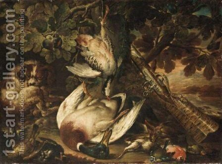 A Spaniel Guarding Over A Duck, A Partridge And Smallbirds, Together With A Musket Resting Against A Tree by (after) Baldassare De Caro - Reproduction Oil Painting