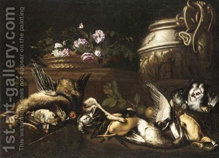 Still Life With A Hare, A Pheasant, Partridges, Duck And Other Gamebirds, Together With A Basket Of Flowers And A Gilt Urn by Giovanni Paolo Zanardi - Reproduction Oil Painting