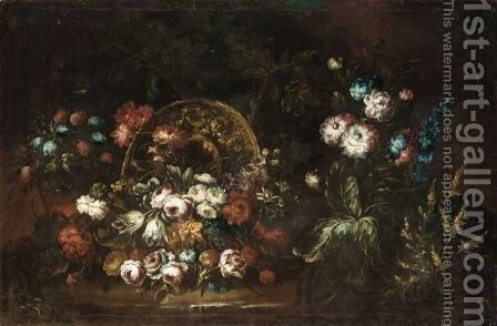 Still Life With Various Flowers Together With A Bronze Urn In A Landscape by (after) Margherita Caffi - Reproduction Oil Painting