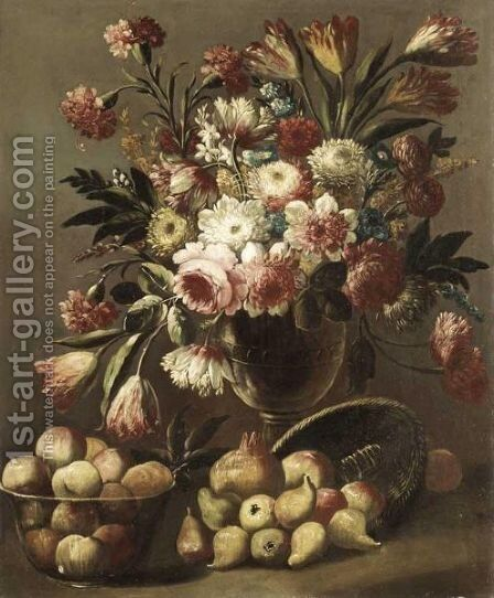 A Still Life Of Tulips, Roses, Carnations And Other Flowers In A Glass Vase Together With Fruit by Italian School - Reproduction Oil Painting