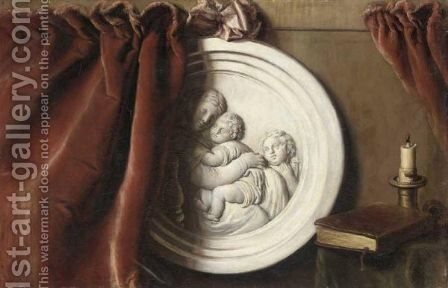 Trompe L'Oeil  With A Plaster Tondo Of The Madonna Della Sedia Partially Covered By A Curtain, Together With A Book And A Candle by Italian School - Reproduction Oil Painting