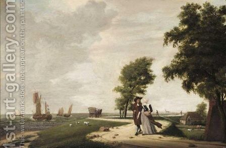 A Coastal Landscape With A Gentleman And Lady On A Road, A Town In The Distance by Dutch School - Reproduction Oil Painting