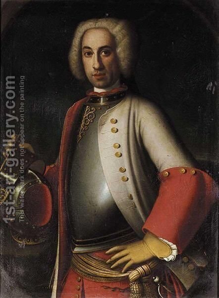 A Portrait Of A Gentleman, Half Length, Wearing A Cuirass And A Red And Grey Coat by Neapolitan School - Reproduction Oil Painting
