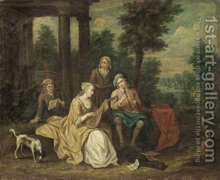 A Fete Champetre With Figures Playing Musical Instruments by (after) Peter Jacob Horemans - Reproduction Oil Painting