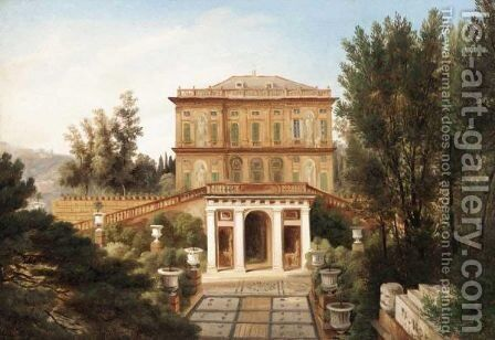 View Of An Italian Villa, Possibly Outside Genoa by Italian School - Reproduction Oil Painting